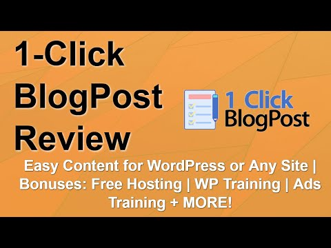 1 Click BlogPost Review | Amazing Bonuses | Fast Content Creation ⏩